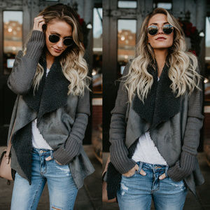 Faux Suede Shearling Knit Cardigan PREORDER